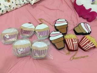COMBO Sweet Handbags Cupcake Ice cream Popcorn