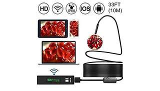 413•Upgraded Version] WiFi Endoscope, Shopline 1200P HD Wireless Inspection Endoscope with 8 LEDs 2.0 Megapixels Waterproof Snake Camera for Android, iPhone, Tablet, iPad and more (10m / 33FT)