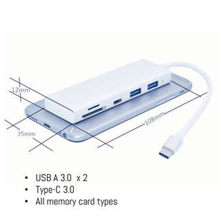 ⭐️USB-C Dongle with USB3.0 ports, Type C, memory card reader for MacBooks chromebook