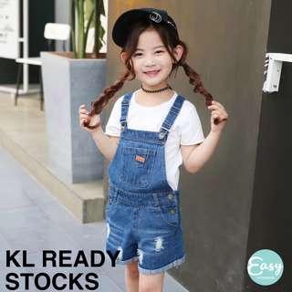 Kids Girl Short Denim Jeans Jumpsuit Pants Adjustable Strap