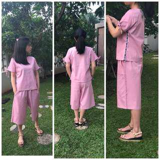 Pink jumpsuit/cullote set