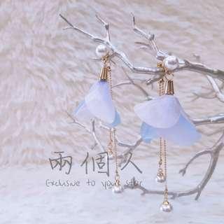 🚚 現貨 珍珠花朵吊墜仙氣耳環
