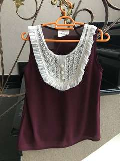 Purple gauze sleeveless top