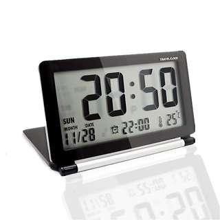 1037. Mini Foldable Travel Alarm Clock with Temperature & Date & Week & Repeating Snooze Silent LCD Digital Screen Alarm Clock (Black
