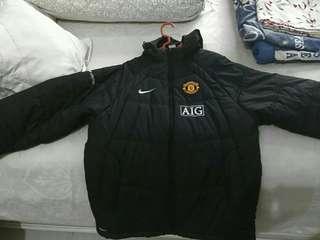 NIKE x Manchester United Black Puffy Coach Hooded Jacket