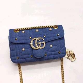 Gucci denim classic flap with pearl