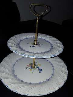 Two tier dessert tray, brand new old stock
