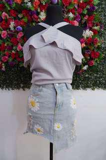 Sunflower Denim Skirt