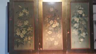 OLD CHINESE WOOD HANGING   MOULDINGS WITH  BUTTERFLIES FLOWERS