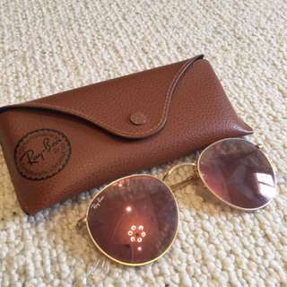 Round Ray Ban Sunglasses: Rose Gold