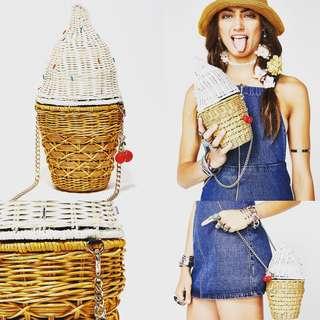 Betsey Johnson🍦雪糕造型藤織袋 👸🏼店主自留款👍🏻