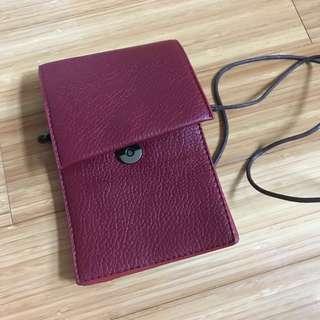 酒紅色手機袋