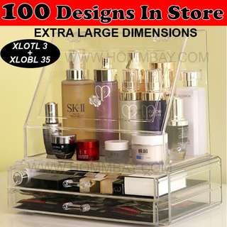 Makeup Make up Organizer Clear Acrylic Transparent Cosmetic Jewellery Jewelry Organiser Organizer Drawer Storage Box Holder (XLOTL 7 + XLOBL 35)