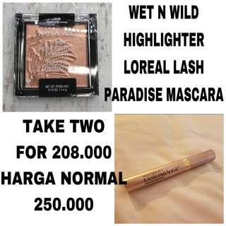(DISKON) TAKE TWO wet n wild Highlighter and Loreal lash paradise mascara