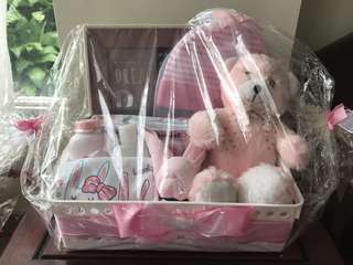 Pink Baby Basket Gift free delivery!