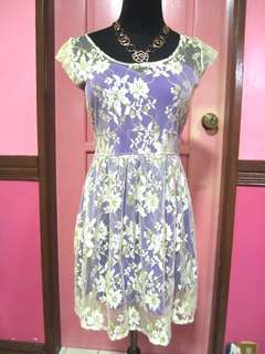 White lace dress with purple lining