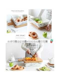 大理石纹陶瓷果盘+砧板底托组合套装 <Marble Ceramic Salad/fruit Bowl+Wooden Cutting Board Set>