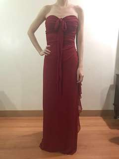 Red glitter long formal gown for rent
