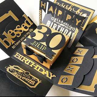 Happy 30 birthday Explosion Box card in black and gold
