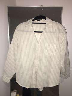 Pinstripe white top/blouse
