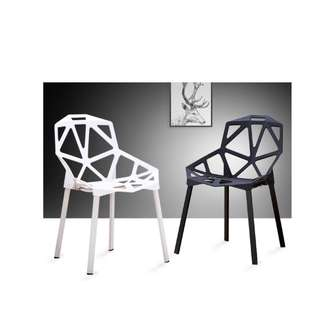 Geometric Design Hollow Chair (black, white and red)