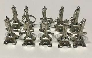 Eiffel Tower Paris Key Chain Silver, Gold & Bronze.
