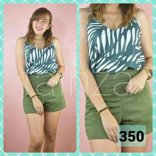 Green terno top and short