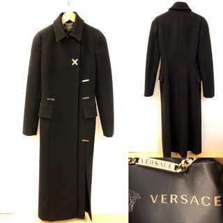 Versace black with gold metal long overcoat jacket size 38