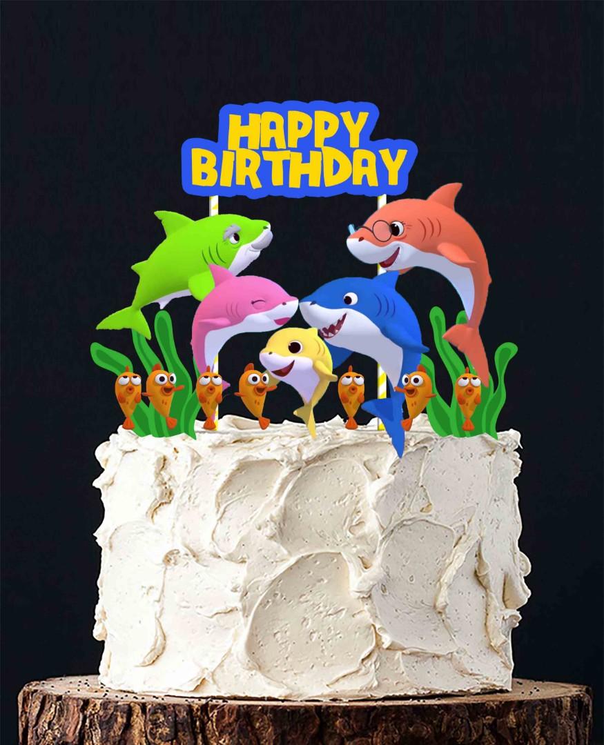 1set 12 Baby Shark Pinkfong Doo Doo Cake Topper For