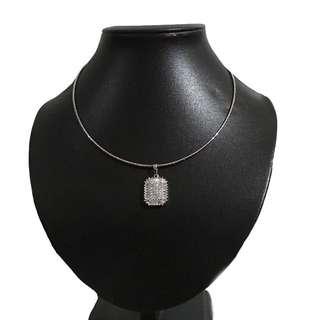Diamond square omega necklace