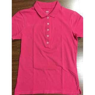 Uniqlo womens pink polo shirt S