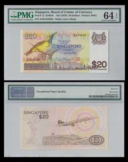 For sale: 1 piece of Singapore 20 Dollars - P12 - PMG 64EPQ