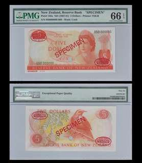 For sale: 1 piece of beautiful New Zealand 5 Dollars - P165s - PMG 66EPQ