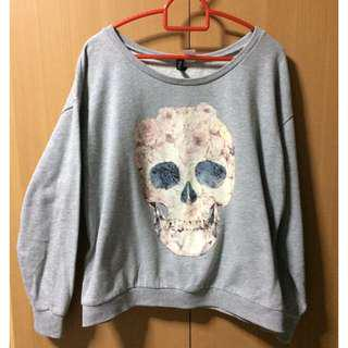 H&M Floral Skull Long Sleeve Top