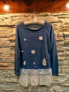🚚 藍色蕾絲裙➕頸套