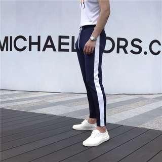 Vertical White Stripe Slim Fit Pants