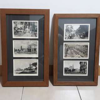 2 Old attractive B/W photos of Singapore Framed