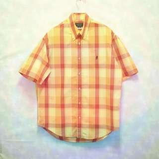 三件7折🎊 Marlboro 襯衫 長袖襯衫 橘格紋 電繡logo 極稀有 老品 復古 古著 Vintage
