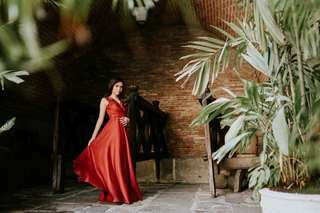 FOR RENT: Marsala Red Long Evening Gown with slit