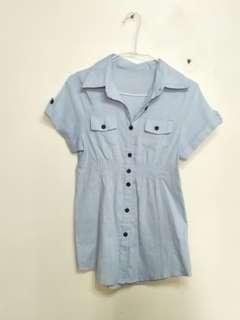 🚚 丹寧水藍中長版襯衫