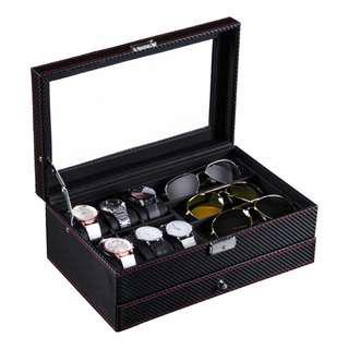 碳纖維 手錶盒 眼鏡盒 首飾盒 收納盒 多功能收納盒 升級版開窗採用玻璃