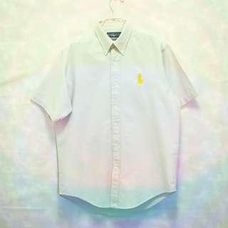 三件7折🎊 Ralph Lauren Polo 襯衫 短袖襯衫 淺藍灰 大黃馬 極稀有 老品 復古 古著 Vintage
