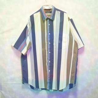 三件7折🎊 Nautica 襯衫 短袖襯衫 多色 直條紋 胸前口袋 綠色電繡logo 極稀有 老品 復古 古著 Vintage