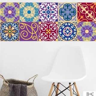 Wall Sticker / Wallpaper colorful Peranakan 1 set 3 design for $15