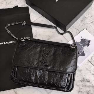 YSL NIKI CHAIN BAG (LARGE) 全新 香港現貨 包裝膜未拆 IN CRINKLED AND QUILTED BLACK LEATHER