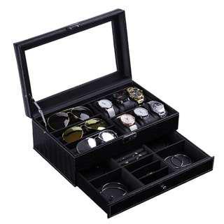 鱷魚紋 手錶盒 眼鏡盒 首飾盒 收納盒 多功能收納盒 升級版開窗採用玻璃