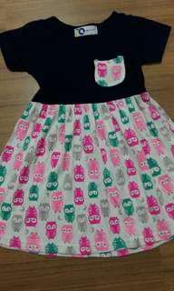 Colourful owl dress 5-6yo