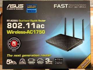 ASUS RT-AC66U Dual-band Gigabit Router 802.11ac Wireless-AC1750