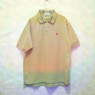 三件7折🎊 Burberry polo衫 短袖 經典卡其格紋領 電繡logo 極稀有 老品 復古 古著 Vintage