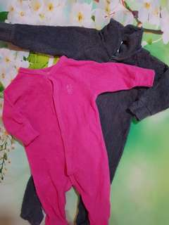 (6-12 months) Baby girl pink & black overall *set
